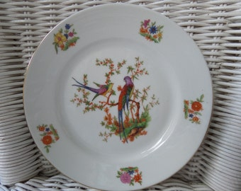 "Hand Painted Side Plate, 6.75"" Sandwich Plate, Immaculate Condition, Vintage Bohemia Czecho-slowakian Porcelain, 'Eden' Birds of Paradise"