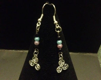 Tri-swirl dangle drop pendant earrings