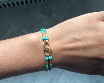 Turquoise and gold link bracelet