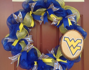 WVU Wreath/ West Virginia University/ Deco Mesh Wreath