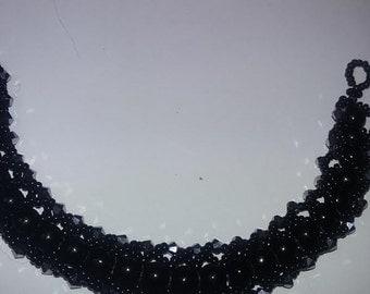 Pure black handmade black agate bead with black ab bi-cone crystals
