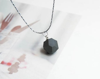Mud-Q  handmade Ceramics Black 3D Shape Pendant