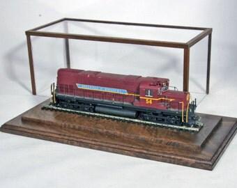 """Walnut 10"""" HO Gauge Display Case  - by Oak Hill Crafts"""