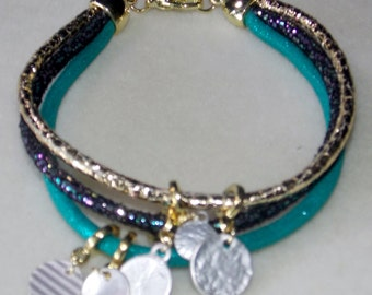 Teal and Aqua Corded Charm Bracelet