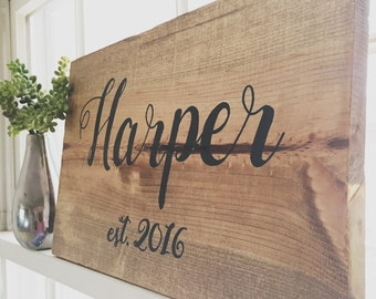 Last Name Boards Wood Sign Family Sign with Established Date Wedding Gift Anniversary Sign Housewarming Sign Rustic Hand Painted