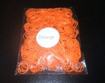 """600 Orange Rubber Bands Refills For Rainbow Loom Kit With 24 """"S"""" Clips NEW"""