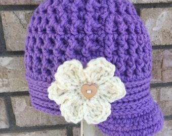Crocheted Newsboy Hat for infant girls Purple Cream Flower