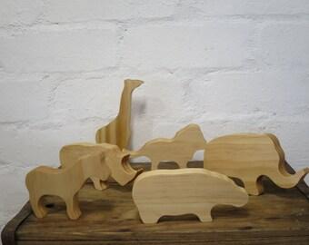 Wooden wild (safari) animal set