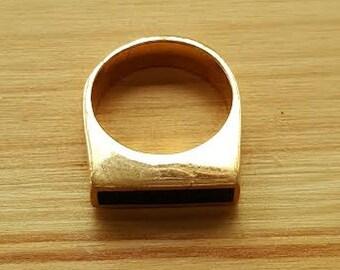Goldring mit schwarzem stein  Schwarzer emaille ring | Etsy