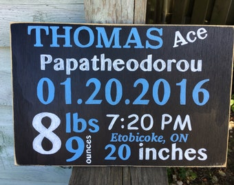 Custom Baby name sign - baby announcment - hand painted - gift from the heart