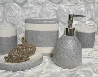 silver sparkle bathroom accessories. Glitter Bathroom Accessories  Soap Dish Dispenser Tissue Box Toothbrush Holder Cup tissue box Etsy