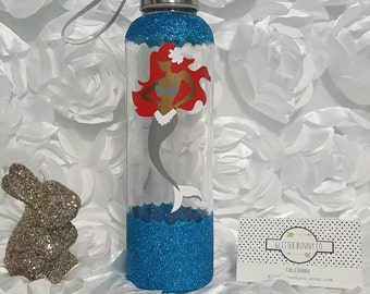 Glitter Mermaid Glass Water Bottle // Gym // Sparkle Bling// Vinyl