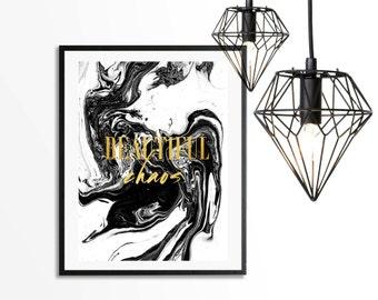 Beautiful Chaos Faux Foil Art Print - Instant Digital Download