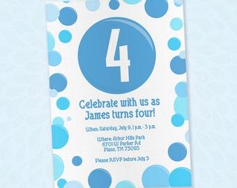 Blue Bubble Themed Invitation - EDITABLE PDF - 5x7 - Printable