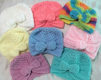 Handmade Crochet Baby Girls Fashion Turban with Bow 0-3 Months Old