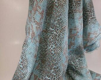 Teal Snake Print Fabric