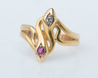 Art Nouveau Diamond and Ruby Double Snake Ring