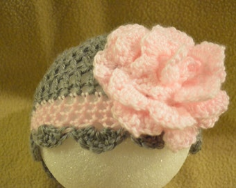 Gray/Pink Floral Hat