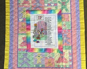 Baby quilt with hand stitched applique