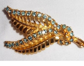 Gold Plated Leaf Brooch Blue stones Vintage