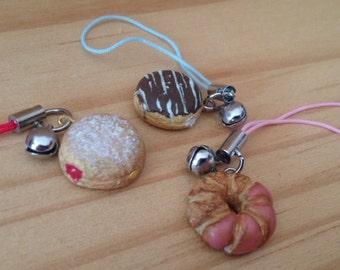 hand made doughnut cell phone charm