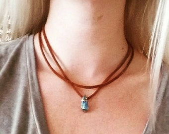 Crystal Cognac Leather Choker