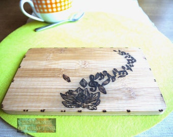 Lotus Flower Music Notes Note Cutting Board Edge board Breakfast Breakfast board Handmade,Pyrografie,Wood, Burning, Woodburning
