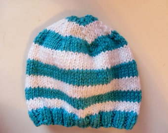 SALE Teal Striped Handmade Knit Baby Hat 6-12 Months