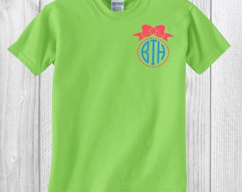 Little Girls Monogram with Bow//Pocket Decal//15 Shirt Colors//15 Design Colors