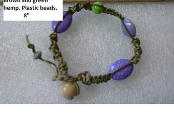 Green and purple hemp twist costume bracelet.