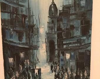MCM Street Scene in Blue Painting