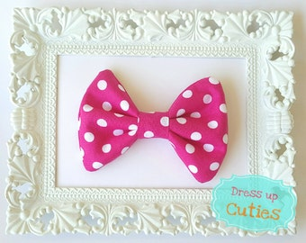 Pink and White polka dot fabric hair bow
