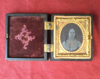 Antique  American tin type photograph keepsake box 1850's