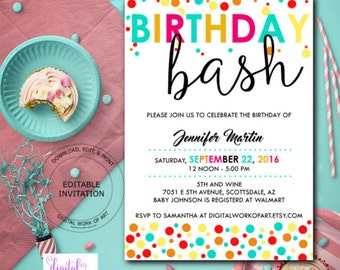 Birthday Party Invitation, Birthday Bash Party Invitation, Editable Birthday Invitation, Printable Birthday Invitation Instant Download,