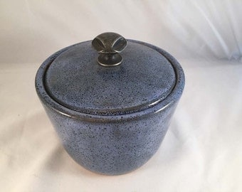Blue Oil Spot Lidded Jar with Drawer Pull Handle