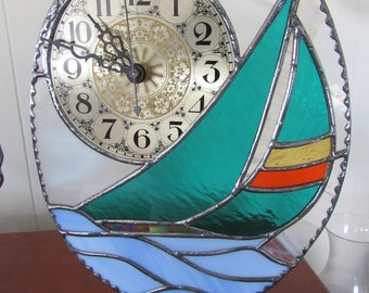 Stained Glass Clock- Sailboat