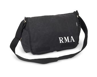 Messenger Bag - Monogram Messenger Bag - Monogram Tote - Charcoal Messenger Bag - Large Messenger Bag
