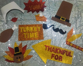 Thanksgiving photo booth props -Thanksgiving decorations - glitter props -Thanksgiving props- Thanksgiving photo booth - Thanksgiving day -