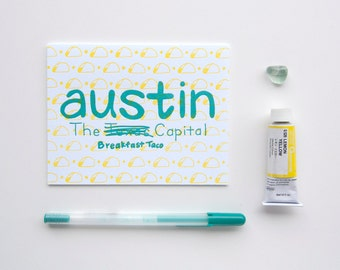 Austin, Texas Greeting Card- Letterpress Printed in Teal & Yellow Ink on 100% Cotton Paper, Hand-Illustrated