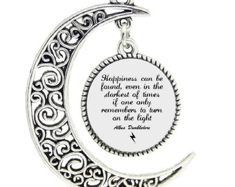 Happiness Can Be Found In the Darkest of Times Round Silver Pendant Albus Dumbledore