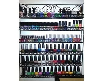 Metal Wire Nail Polish Display Organizer Wall Rack (Hold 90 to 126 Bottles)