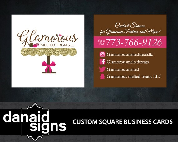 Custom square business cards by danaidsigns on etsy for Custom square business cards