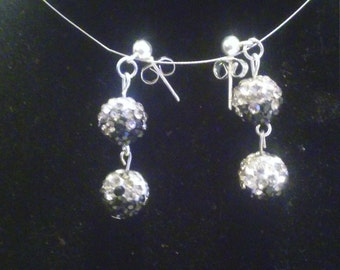 Black and silver sequin earrings