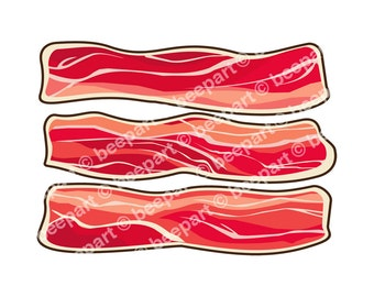 bacon clip art, bacon illustrations, bacon lovers art, meat lovers art, royalty free clip art, INSTANT DOWNLOAD
