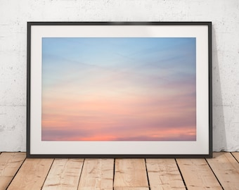 Beautiful Sunset Sky Abstract Photograph, Orange Pink and Blue Sky, Peaceful Delicate Clouds, Printable Wall Art, Digital Download