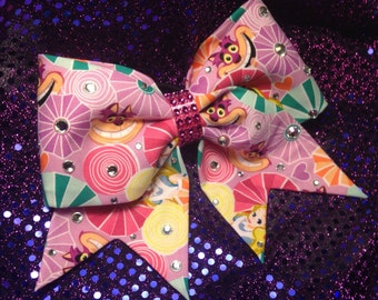 We're all mad here cheer bow