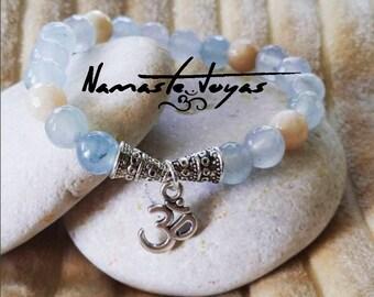 Bracelet Om sanction of agate - Agate bracelet Om healing