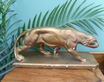1930S French Art deco stylized plaster panther