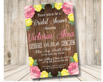 Rustic Wood and Rose Bridal Shower Invitation