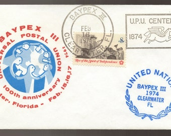 BAYPEX 11 Universal Postal Union 100th Anniversary United Nations US 1974 Cover